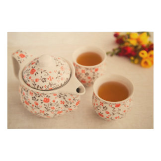 Ceramic Tea Set Wood Print