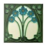 """Ceramic Tile - Art Nouveau Forget Me Not<br><div class=""""desc"""">Beautiful Art Nouveau design the 'forget me not'.</div>"""