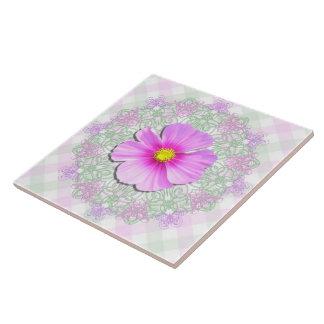 Ceramic Tile - Bi-Color Cosmos on Lace & Lattice