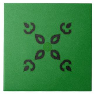Ceramic Tile- Black and Green Textured Design