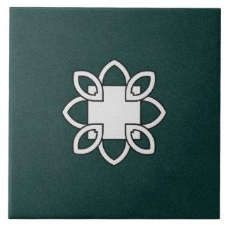 Ceramic Tile- Black and White Pattern on Green