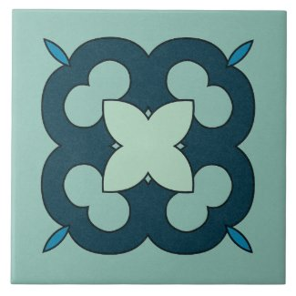 Ceramic Tile- Blue and Teal Textured Design