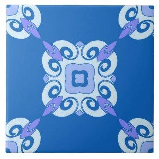 Ceramic Tile- Blue and White Swirled Pattern