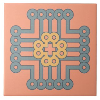 Ceramic Tile- Blue and Yellow Design on Pink
