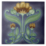 """Ceramic Tile - Blue, Green & Brown Floral Tile<br><div class=""""desc"""">Beautiful ceramic art nouveau tile that would be lovely in an home & make a wonderful gift for someone special to you.</div>"""
