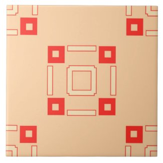 Ceramic Tile- Coral and Peach Tiled Pattern