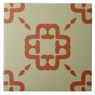 Ceramic Tile- Coral and Red Pattern on Beige