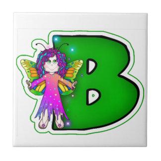 Ceramic Tile Cute Fairy Initial Green B