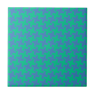 Ceramic Tile, Emerald and Blue Dogtooth Check Ceramic Tile