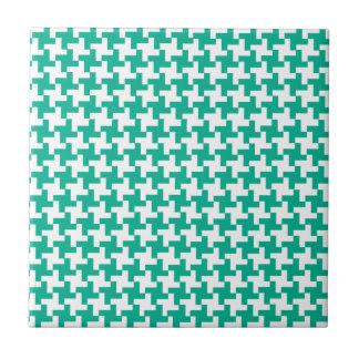 Ceramic Tile, Emerald Green Dogtooth Check Tile