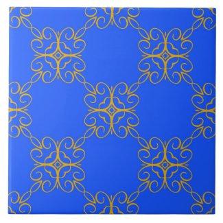 Ceramic Tile- Gold and Blue Kaleidoscope Pattern