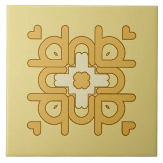 Ceramic Tile- Gold and Brown Kaleidoscope Hearts