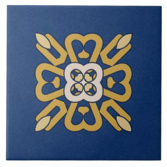 Ceramic Tile- Gold and White Pattern on Blue