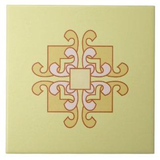 Ceramic Tile- Gold and White Swirled Box Pattern