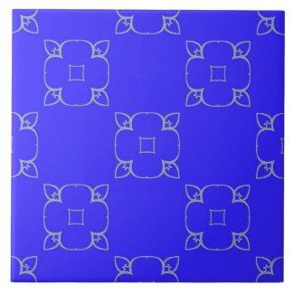Ceramic Tile- Gray on Blue Kaleidoscope Pattern