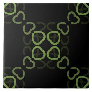 Ceramic Tile- Green on Black Heart Pattern