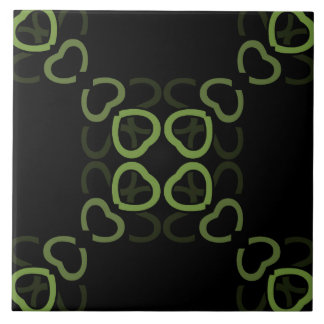 Ceramic Tile- Green on Black Heart Pattern Tile