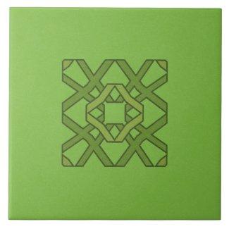 Ceramic Tile- Green on Green Block Pattern