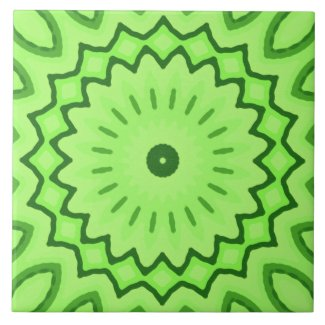 Ceramic Tile- Green Textured Kaleidoscope Design
