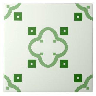 Ceramic Tile- Green Tiled Pattern on White