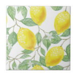 """Ceramic Tile Lemon  Watercolor Pattern<br><div class=""""desc"""">lemon watercolor pattern painting tile for the kitchen or bathroom decor. To see more products click the store link.</div>"""