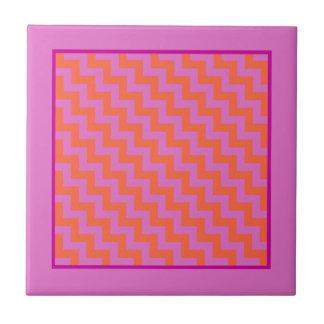 Ceramic Tile, Magenta and Orange Chevron Pattern Tile
