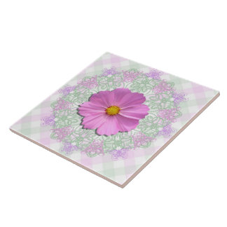Ceramic Tile - Med. Pink Cosmos on Lace & Lattice