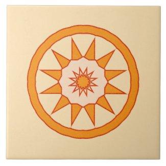 Ceramic Tile- Orange and Gold Kaleidoscope Star
