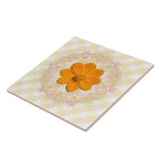 Ceramic Tile - Orange Cosmos on Lace & Lattice