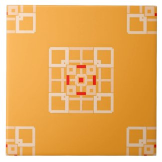 Ceramic Tile- Peach and Red on Orange Pattern