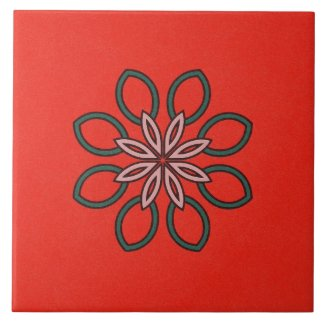 Ceramic Tile- Pink and Green Kaleidoscope Flower