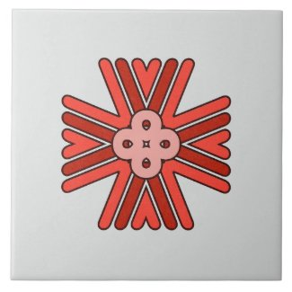 Ceramic Tile- Pink and Red Pattern on Gray