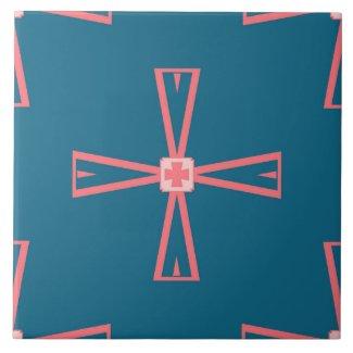 Ceramic Tile- Pink on Blue Tiled Pattern