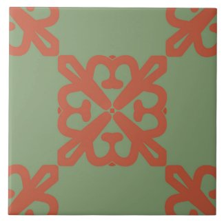 Ceramic Tile- Pink on Green Kaleidoscope Pattern