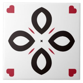 Ceramic Tile- Red and Black Pattern on White
