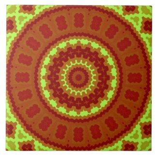 Ceramic Tile- Red and Green Kaleidoscope Design