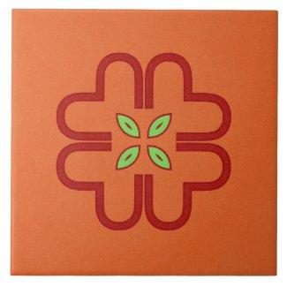 Ceramic Tile- Red and Green Kaleidoscope Flower