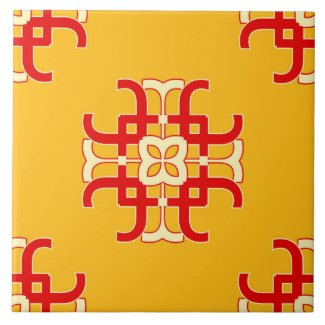 Ceramic Tile- Red and White Pattern on Yellow