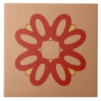 Ceramic Tile- Red and Yellow Textured Design
