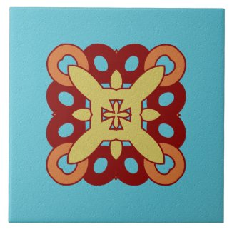 Ceramic Tile- Red Yellow and Coral on Blue