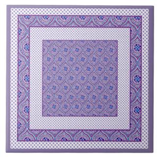 Ceramic Tile, Trivet Mauve and White Ogees, Polkas Large Square Tile
