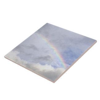 "CERAMIC TILE/TRIVET, ""RAINBOW IN THE CLOUDS"" TILE"