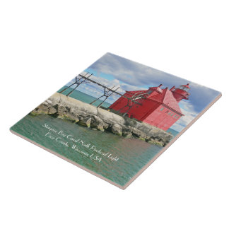 CERAMIC TILE/TRIVET WITH RED LIGHTHOUSE AND PIER TILE