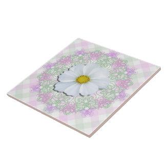 Ceramic Tile - White Cosmos on Lace & Lattice