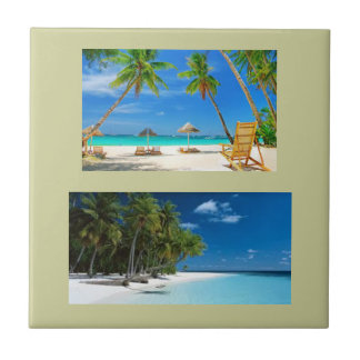 Ceramic tile with two beach scenes