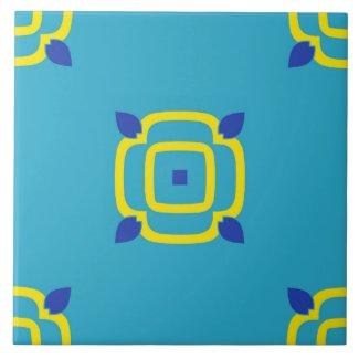 Ceramic Tile- Yellow and Blue Kaleidoscope Flower