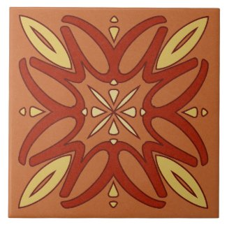 Ceramic Tile- Yellow and Red Kaleidoscope Flower