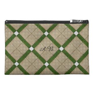 Ceramic Tiles Diagonal Mediterranean Initials Travel Accessory Bag