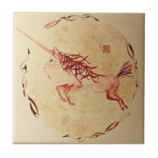 ceramic watercolour mythology Ireland unicorn Tile