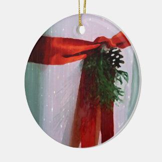 Ceramic White Christmas Gift Ornament